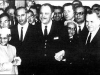 Lal Bahadur Shastri (Left), President Ayub Khan, and Premier Alexei Kosygin at Tashkent Declaration.