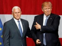 Republican presidential candidate Donald Trump (R) and Indiana Governor Mike Pence (L) - Reuters/John Sommers II