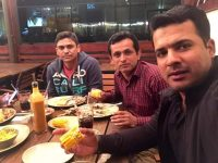 Sharjeel Khan (right), Khalid Latif (left) are having a dinner with alleged bookie named Yousaf.