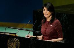 United States Ambassador to the United Nations, Nikki Haley, addresses the General Assembly prior to the vote on Jerusalem, on December 15, 2017. Credit: EDUARDO MUNOZ ALVAREZ/AFP