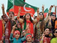 FIle photo of female participants at a Tehreek-e-Insaf rally.