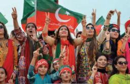 FIle photo of female participants at a Tehreek-e-Insaf rally.