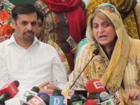 File photo of Fauzia Kasuri (right) while joining Mustafa Kamal's (left) Pak Sarzameen Party.