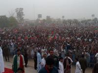 Imran Khan addressing a huge rally at Miawali.