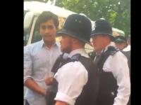 Screengrab from a mobile video. Junaid Safdar is under arrest.