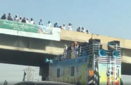 Maulana Fazl ur Rehman's Azadi March Container Gets Stuck in Motorway Overpass